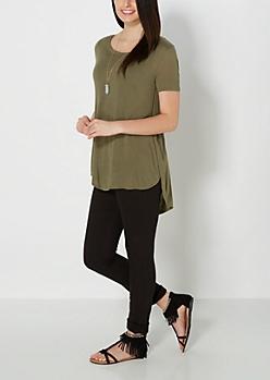 Olive Green Split Seam Tunic Top