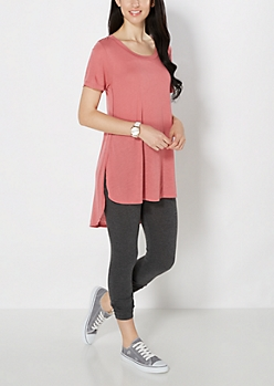 Dark Pink Split Seam Tunic Top