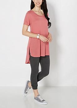 Dark Pink Split Seam Tunic Top