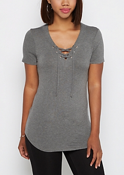 Heather Gray Lace-Up Tee