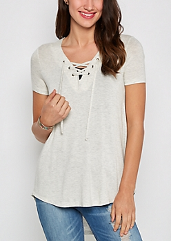 Oatmeal Heather Lace-Up Tee