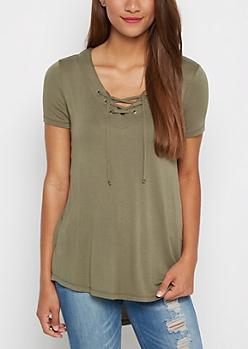 Olive Lace-Up Tee