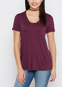 Plum Lace-Up Tee