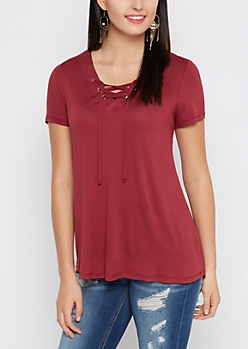 Burgundy Lace-Up Tee