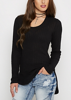 Black Soft Rib Knit Tunic Shirt