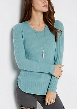 Light Blue Soft Rib Knit Tunic Shirt