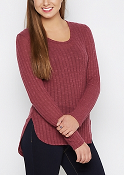 Purple Soft Rib Knit Tunic Shirt