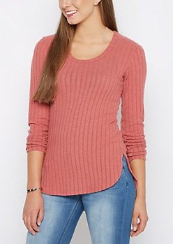 Dark Pink Soft Rib Knit Tunic Shirt