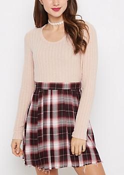Pink Soft Rib Knit Tunic Shirt