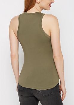Olive High Neck Soft Knit Tank Top