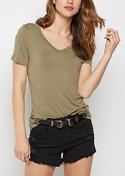 Olive V-Neck Favorite Tee