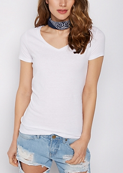 Heathered White V-Neck Favorite Tee