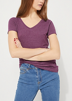 Heather Plum V-Neck Favorite Tee