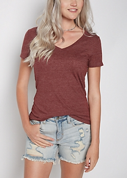 Heather Burgundy V-Neck Favorite Tee