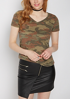 Faded Camo V-Neck Favorite Tee