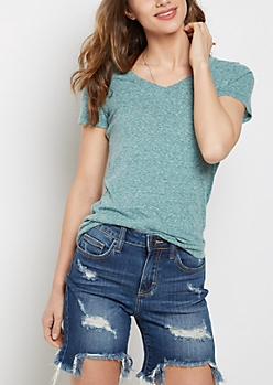 Heathered Teal V-Neck Favorite Tee
