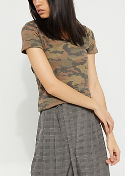 Washed Camo V-Neck Favorite Tee