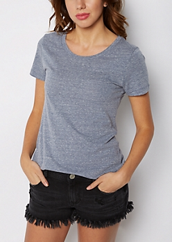 Heathered Blue Crew Neck Favorite Tee