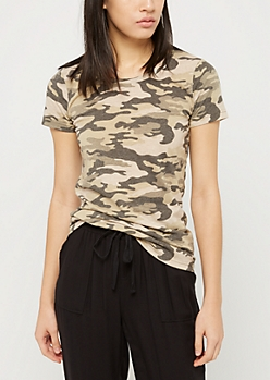 Heathered Camo Crew Neck Favorite Tee