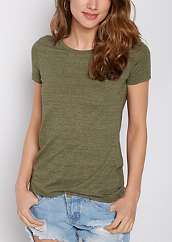 Heathered Olive Crew Neck Favorite Tee