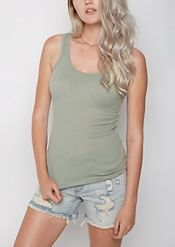 Olive Rib Knit Favorite Tank Top