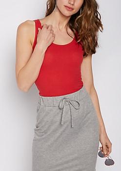 Red Rib Knit Favorite Tank Top