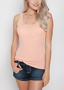 Peach Rib Knit Favorite Tank Top