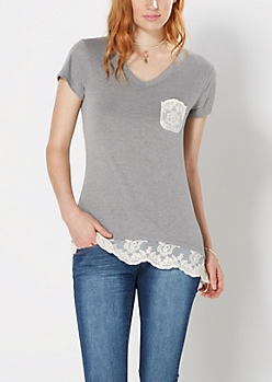 Charcoal Grey Lace Accent V-Neck Tee