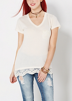 Ivory Lace Accent V-Neck Tee
