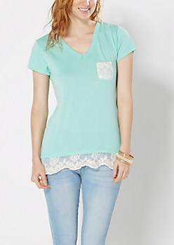 Light Green Lace Accent V-Neck Tee
