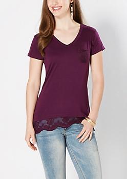 Dark Purple Lace Accent V-Neck Tee