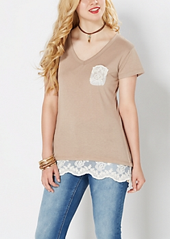 Tan Lace Accent V-Neck Tee
