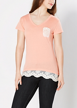 Coral Lace Accent V-Neck Tee