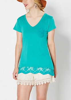 Teal Lace Accent V-Neck Tee