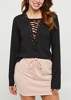 Black Lace Up Soft Brushed Shirt