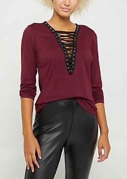 Burgundy Lace Up Soft Brushed Shirt