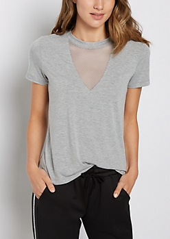 Heather Gray Mesh V Neck Tee
