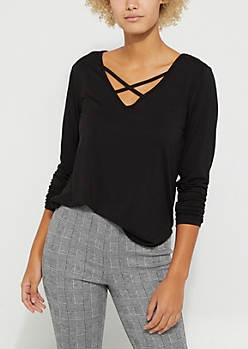 Black Strappy Long Sleeve Tee