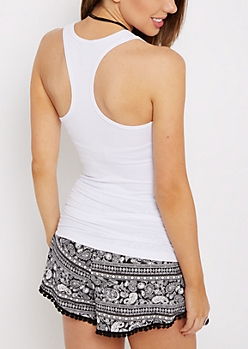 White Racerback Soft Brushed Knit Tank