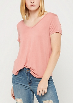 Dusty Rose Favorite Relaxed V Neck Tee