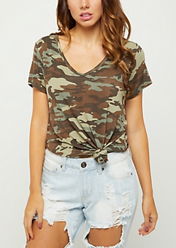 Camo V Neck Favorite Relaxed Tee