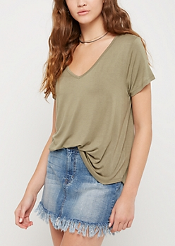 Green Olive V-Neck Favorite Tee