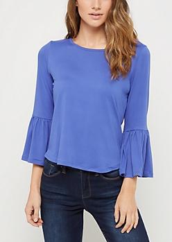 Blue Ruffled Sleeve Top