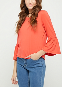 Coral Ruffled Sleeve Top