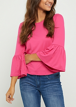 Pink Ruffled Sleeve Top