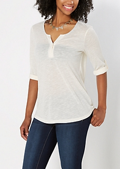 White Solid Slub Knit Henley Top