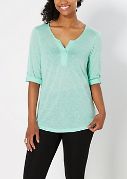 Light Green Solid Slub Knit Henley Top