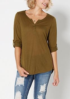 Dark Olive Solid Slub Knit Henley Top
