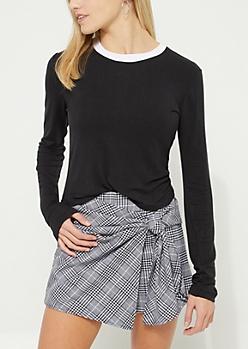 Black Long-Sleeve Ringer Top