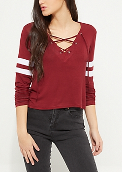Pink Athletic Striped Lace Up Tee